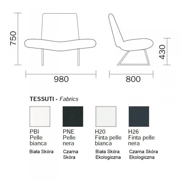Mies 415 fotel Pedrali do nowoczesnych wnętrz wymiary
