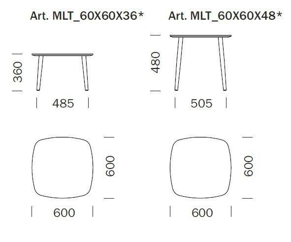 Malmo stolik kawowy 60 x 60 Pedrali