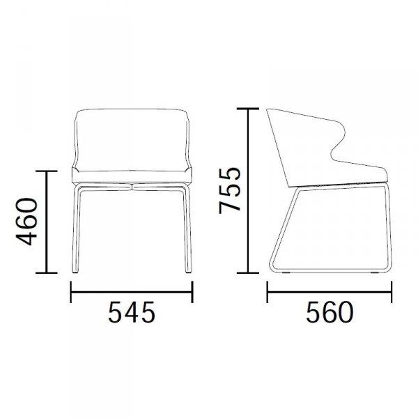 Leila 682 Pedrali wymiary fotela