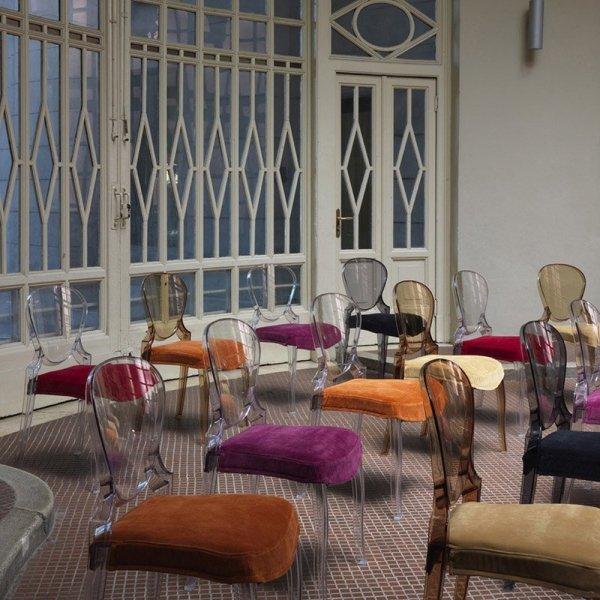 Stylowe krzesła z poduszką na siedzisko Pedrali Queen 650