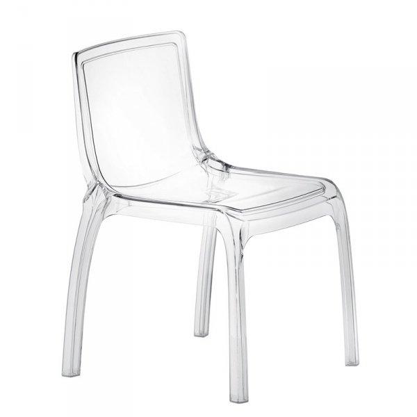Piękne, transparentne krzesło z poliwęglanu Pedrali Miss You 610