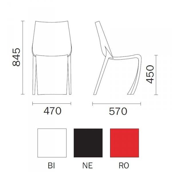 Stylowe krzesła Smart 600 Pedrali wymiary