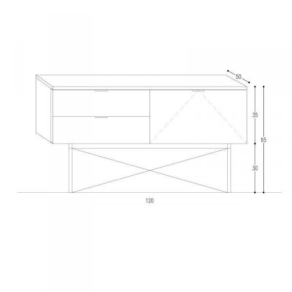 Stylowa i pojemna szafka do salonu Sideboard Basic x2 wymiary