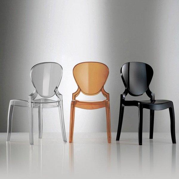 Piękne, transparentne krzesła z tworzywa Queen 650 Pedrlai