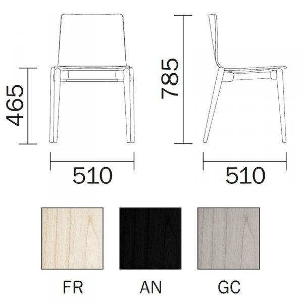 Krzesło drewniane tapicerowane Malmo 391 Pedrali wymiary
