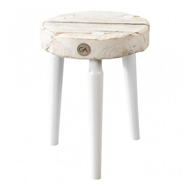 Drewniany Stołek Dots bielony z białymi nogami Projekt Stołek