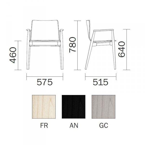 Nowoczesne wygodne krzesła Malmo 395 Pedrali wymiary i kolory