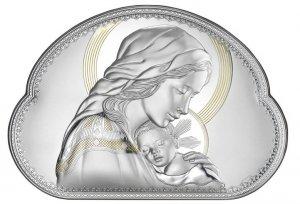 Matka Boska srebrny Ryngraf ślub chrzest pozłacany