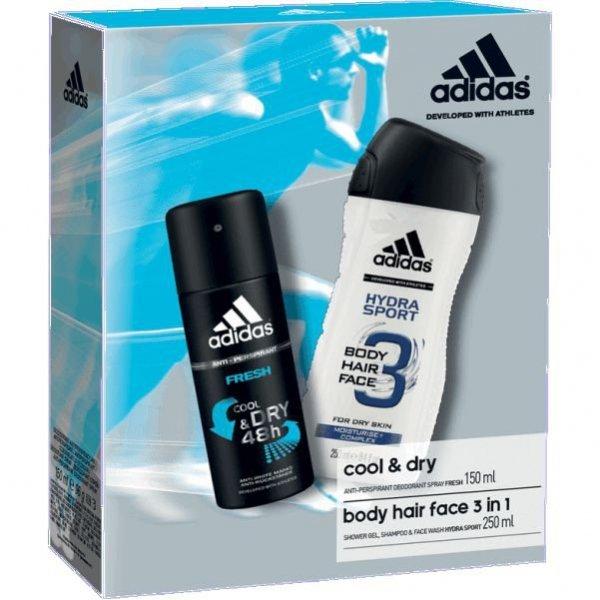 Adidas Fresh Anti-Perspirant 150 ml + Adidas Hydra Sport Body Hair Face 3 in 1 250 ml