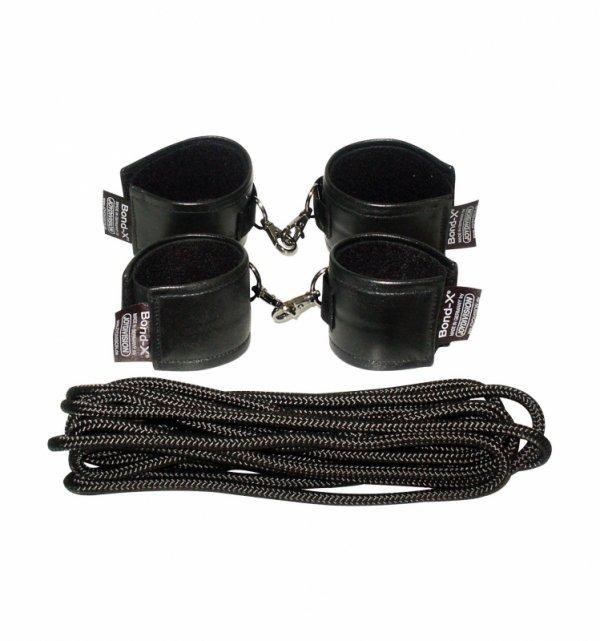 Zestaw do krępowania Soft-Leather-Bond-X Fessel-Set 8 (cuffs black)