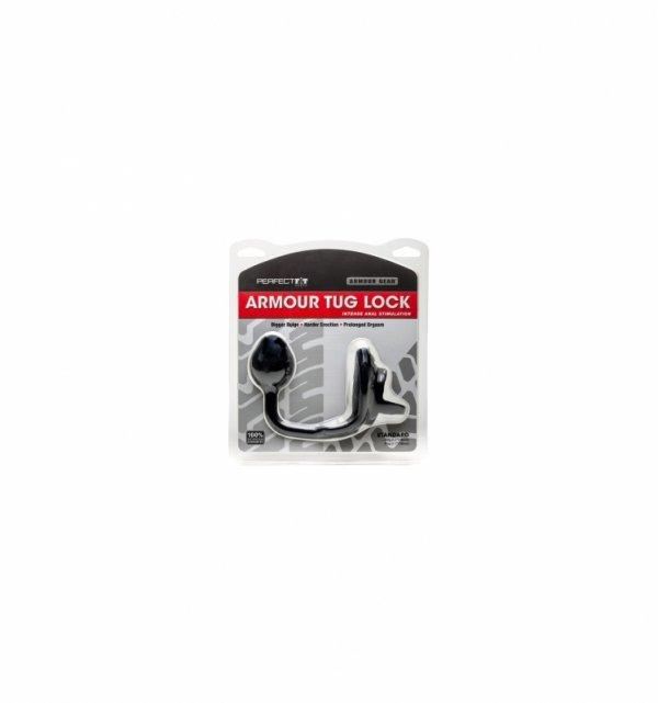 Pierścień z kulką  analną Perfect Fit - Armour Tug Lock Black