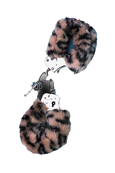 Metal Handcuff with Plush Leopard