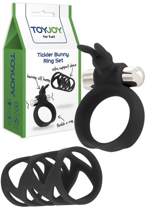 Tickler Bunny Ring Set Black