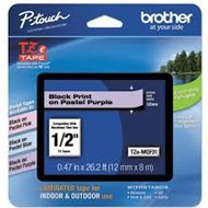 Taśma Brother 12mm x 8m czarny nadruk / pastelowo purpurowe tło