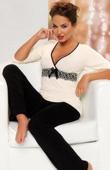 Donna Andrea czarno-kremowa piżama