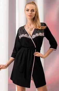 Donna Erika szlafrok czarno-różowy