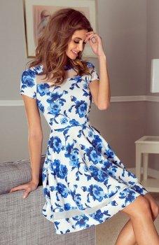 *Morimia 003-3 sukienka biała w niebieskie kwiaty