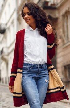 Envy Me EM604 sweter karmelowo-bordowy