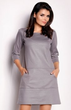 Awama A153 sukienka szara