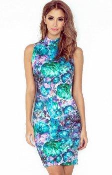 Morimia 002-2 sukienka kwiaty zielone
