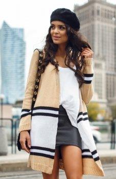 Envy Me EM604 sweter biało-karmelowy