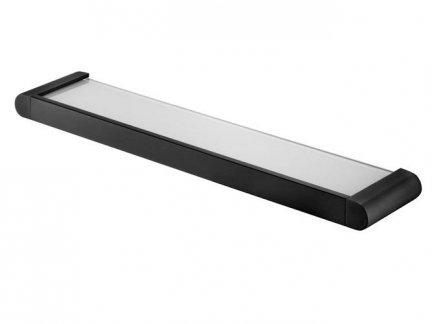 Szklana półka łazienkowa Bisk Futura Black 02957 z uchwytem