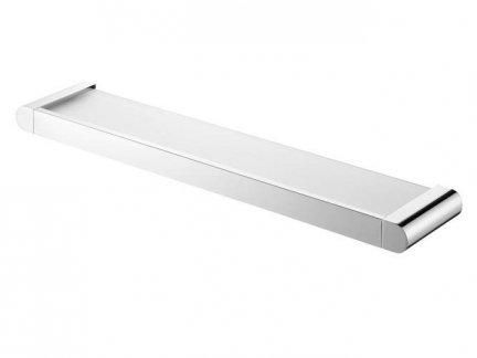 Szklana półka pod lustro Bisk Futura Silver 02985 w chromowanym uchwycie metalowym