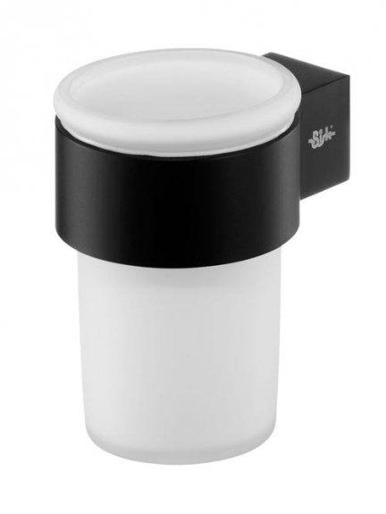 Kubek szklany Bisk Futura Black 02959 z uchwytem