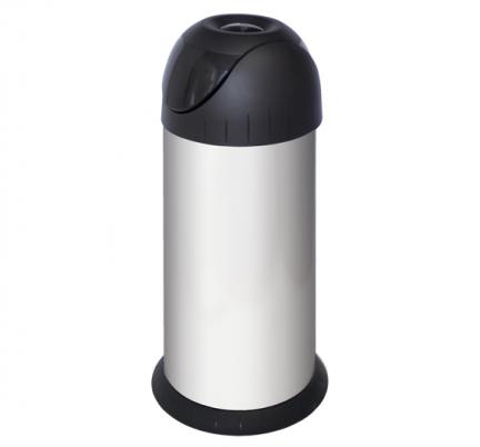 Metalowy kosz na śmieci Bullet-Bin 40 litrów ze stali nierdzewnej z uchylną pokrywą