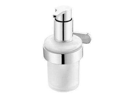 Szklany dozownik mydła w płynie Bisk Natura 04302 w chromowanym uchwycie metalowym