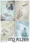 papier decoupage retro, kwiaty, róże, piwonie, ważka, bicykl*Decoupage de papel retro, flores, rosas, peonía, libélula, bicicletas