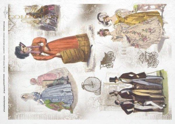 rice paper decoupage - Vintage fashion for men and women*rýžový papír decoupage - Vintage móda pro muže a ženy*Reispapier Decoupage - Vintage Mode für Männer und Frauen