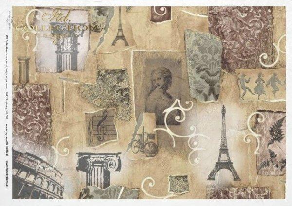 papel de arroz decoupage - Torre Eiffel, París, Vintage*rýžový papír decoupage - Eiffelova věž, Paříž, Vintage*Reispapier Decoupage - Eiffelturm , Paris, Jahrgang