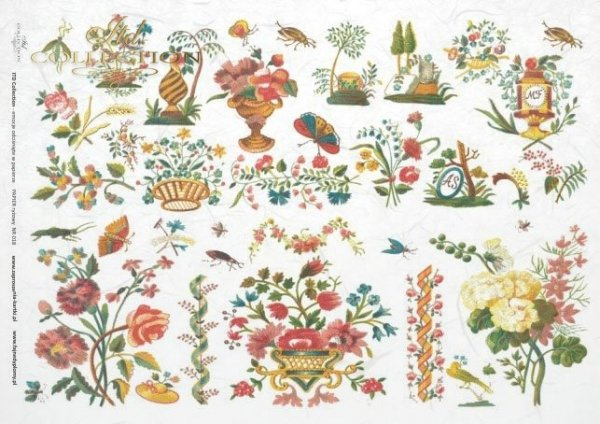 rýžový papír decoupage - květiny, výšivky*Reispapier Decoupage - Blumen, Stickerei*papel de arroz decoupage - flores, bordados
