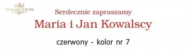 Kolor nadruku na zaproszeniu 07 - CZERWONY
