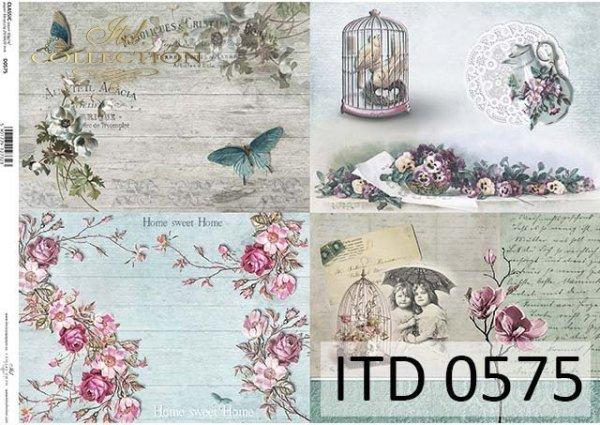 papier do decoupage kwiaty, motyle, Vintage*Paper for decoupage flowers, butterflies, vintage