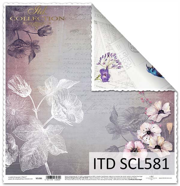 Papier do scrapbookingu - owady, koliber,kwiaty, kartki pocztowe*Paper for scrapbooking - insects, hummingbird, flowers, postcards