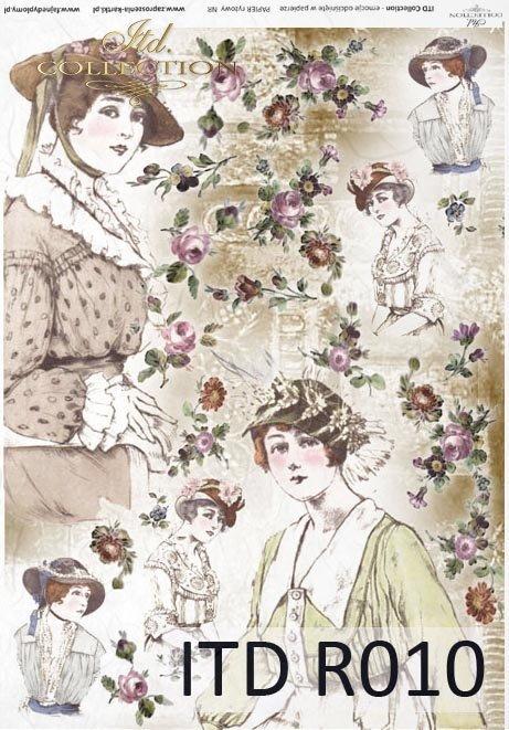 papier ryżowy decoupage - kapelusze retro i Vintage*rice paper decoupage - hats retro and vintage