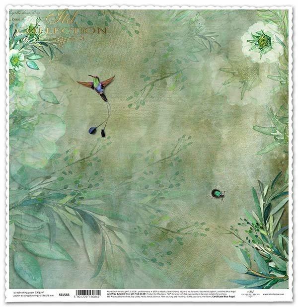Papier für das Scrapbooking - Blumen, Kolibri*Papel para álbum de recortes - flores, colibrí*Papír na scrapbooking - květiny, kolibřík