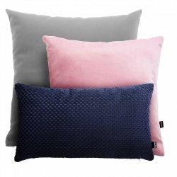 Szaro-różowo-granatowy zestaw poduszek Velvet + Laika