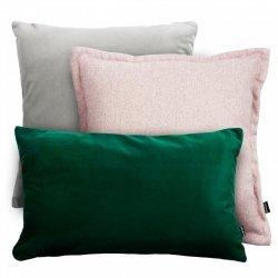 Szaro-zielony zestaw poduszek Velvet + Tweed