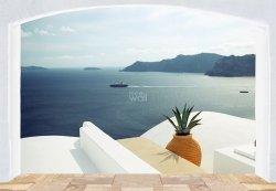 Fototapeta na ścianę - Wyspa Santorini, Grecja (okno) 366x254 cm