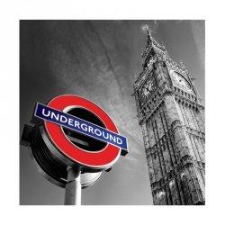 Big Ben & Underground Sign - reprodukcja
