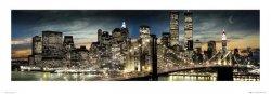 New York Manhattan Night and Moon - reprodukcja