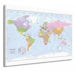 Political World Map - Miller - Obraz na płótnie