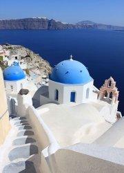 Fototapeta - Kościoły na Santorini, Cyklady, Grecja - 183x254 cm