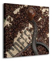 Coffee Beans and Grinder - Obraz na płótnie