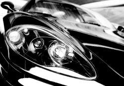 Czarny Sportowy Samochód - fototapeta 366x254 cm