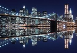 Fototapeta - New York (Brooklyn Bridge night) - 366x254 cm
