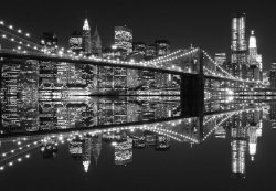 Fototapeta na ścianę - New York (Brooklyn Bridge night BW)  366x254 cm